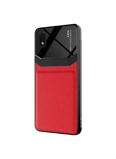 Microsonic Samsung Galaxy A01 Core Kılıf Uniq Leather Siyah Kırmızı